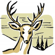 An illustration of a deer with pine trees and rolling hills in the background — Stock Photo