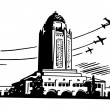 A black and white version of a large art deco type building with planes flying in the background — Stock Photo