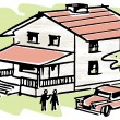 An illustration of a home with a Ute in the driveway — Stock Photo