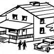 A black and white version of an illustration of a home with a Ute in the driveway — Stock Photo