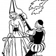 A black and white version of an illustration of a man serenading woman during the renascence era - Stock Photo