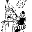 A black and white version of an illustration of a man serenading woman during the renascence era - Photo