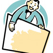 Stock Photo: Cartoon style drawing of vendor holding blank sign