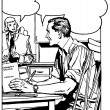 A black an white version of a comic style illustration of a man at a desk talking to a woman in the background - Stock Photo