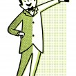 A cartoon style drawing of a man dressed in a suite with bowtie — Stock Photo