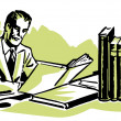 A graphic illustration of a business man working hard at his desk — Stock Photo