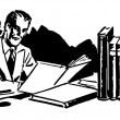 A black and white version of a graphic illustration of a business man working hard at his desk - Stock Photo