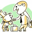 A black and white version of a cartoon style drawing of a business man greeting a small child — Stock Photo #12124904