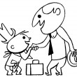 A black and white version of a cartoon style drawing of a business man greeting a small child — Stock Photo