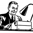 A black and white version of graphic illustration of a business man working hard at a typewriter — Stock Photo
