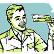 A graphic illustration of a business man examining a check — ストック写真