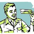 A graphic illustration of a business man examining a check — Stok fotoğraf