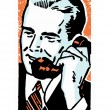 Stock Photo: Graphic illustration of businessmtalking on telephone