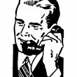 Royalty-Free Stock Photo: A black and white version of a graphic illustration of a businessman talking on the telephone