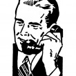 Stock Photo: Black and white version of graphic illustration of businessmtalking on telephone