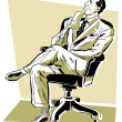 A graphic illustration of a businessman looking perplexed in his office chair — Stock Photo #12125003