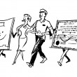 A black and white version of a delivery man and woman walking hand in hand with character made from paper — Stock Photo