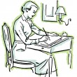 A black and white version of a line drawing of a woman at a writing desk — Stock Photo