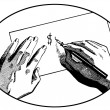 A black and white version of an illustration of two hands on a desk writing a dollar symbol — Stock Photo