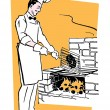 A chef cooking on an barbeque fire — Stock Photo
