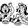 A black and white version of two young girls at a dinner table both crying in anger - Stock Photo