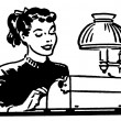 A black and white version of a young woman working on a typewriter — Stock Photo