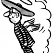 A black and white version of a flying man in a sombrero - Stock Photo
