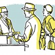 A vintage illustration of a couple talking with a pharmacist — Stok fotoğraf