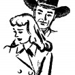 A black and white version of an illustration of a cowboy and a sad looking woman - Stock Photo