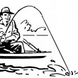 A black and white version of a cartoon style image of a man fishing — Stock Photo
