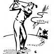 A black and white version of a vintage illustration of a man playing golf — Stock Photo