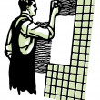 A vintage illustration of a man tiling — Stock Photo