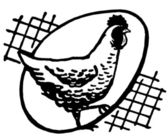 A black and white version of a hen with an egg silhouetted behind — Stock Photo
