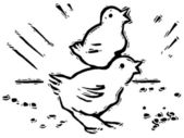 A black and white version of two small chirping chicks — Stock Photo