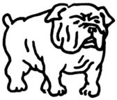 A black and white version of a line drawing of a Bulldog — Stock Photo