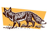 An illustration of a prowling fox — Stock Photo
