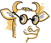 A cartoon style drawing of a bull wearing rounded specials — Stock Photo