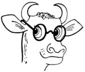 A black and white version of a cartoon style drawing of a bull wearing rounded specials — Stock Photo