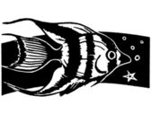 A black and white version of an illustration of a tropical fish swimming — Stock Photo