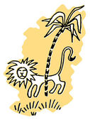 A simplistic drawing of a Lion prowling behind a palm tree — Stock Photo