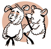 A cartoon style drawing of two sheep — Stok fotoğraf