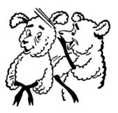 A black and white version of a black and white version of a cartoon style drawing of two sheep — Stock Photo