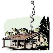 小农场房子有冒烟的烟囱 — 图库照片