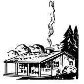 Černobílá verze malé stavení s krbem kouření — Stock fotografie