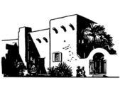 Una versión blanca y negro de un edificio de inspiración mexicana — Foto de Stock