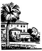 A black and white version of an illustration of a large home with a well established Palm tree in the front yard — Stock Photo