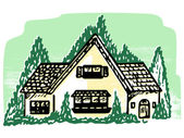 An illustration of a cottage style home — Stock Photo