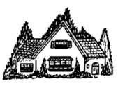 A black and white version of an illustration of a cottage style home — Stock Photo
