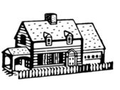 A black and white version of an illustration of a small bungalow home — Stock Photo