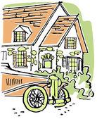 Una ilustración de un hogar con un coche antiguo en primer plano — Foto de Stock